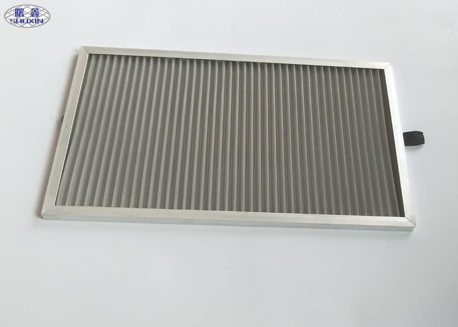 Industrial Reusable Dust Filter Mesh , Silver Pleated Washable Dust Filter