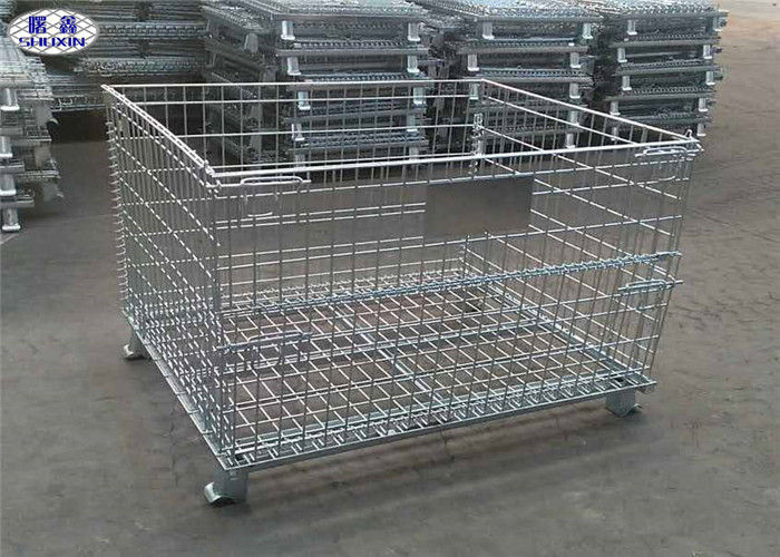 Folding Stackable Industrial Wire Containers Pallet Cage With U Shaped Channel