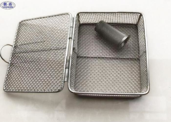 Sterilization Stainless Steel Wire Mesh Baskets , Woven Rectangular Wire Mesh Basket