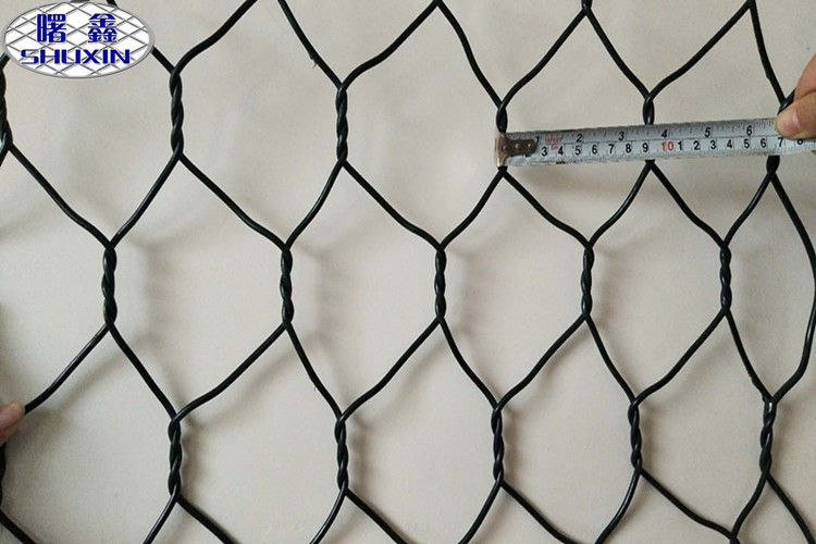 PVC Coated Woven Gabion Mesh Box Mesh Wire 2.7mm / Edge Wire 3.4mm